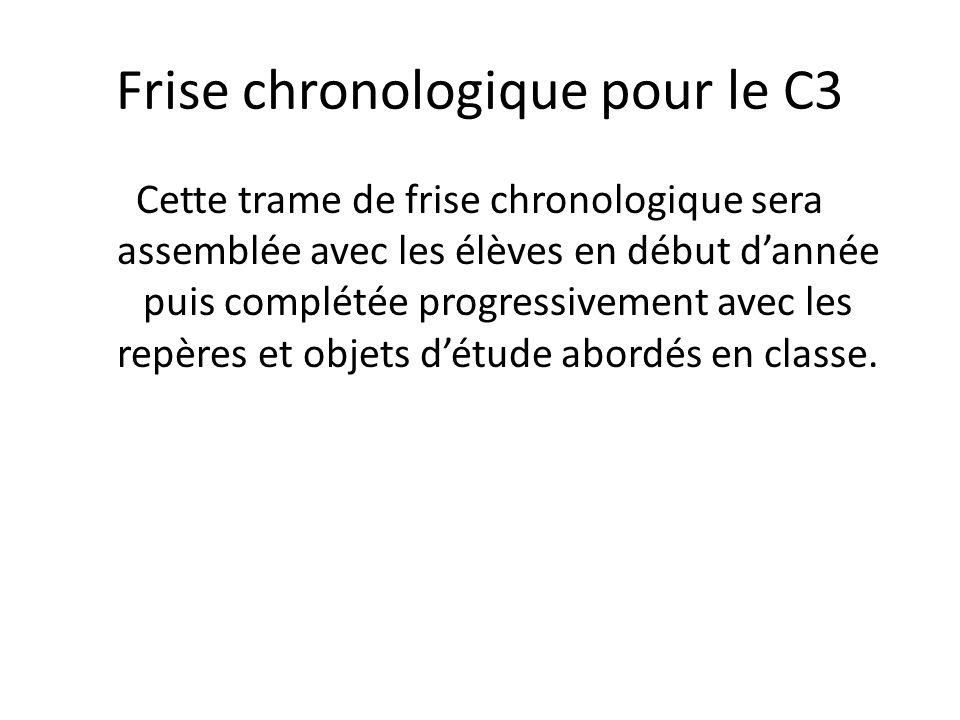 Frise chronologique pour le C3 Cette trame de frise chronologique sera assemblée avec les élèves en début dannée puis complétée progressivement avec l