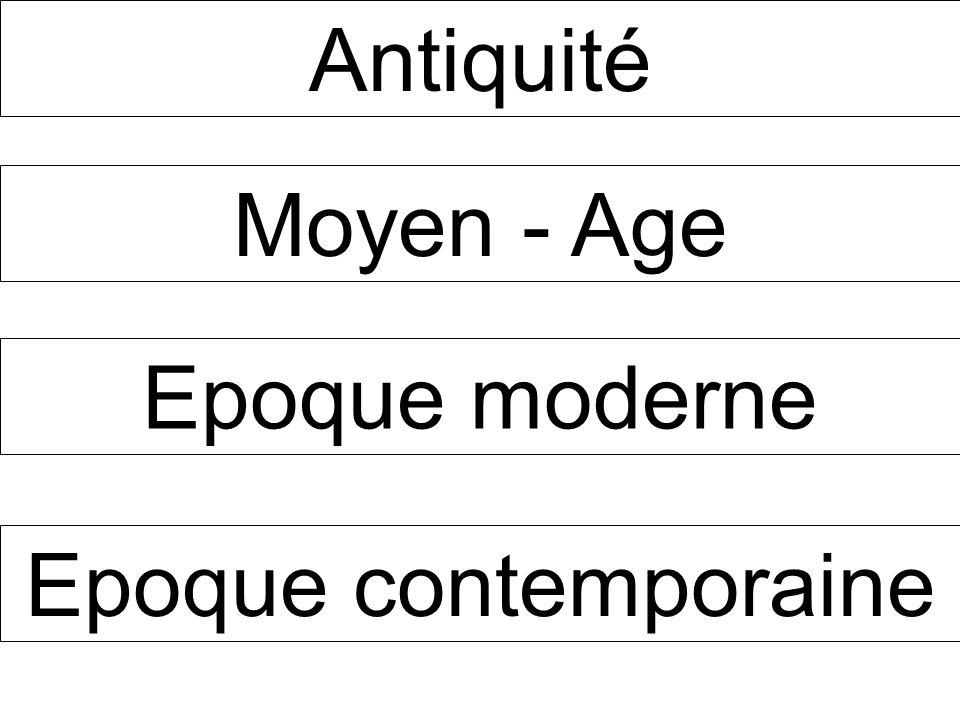 Antiquité Moyen - Age Epoque moderne Epoque contemporaine