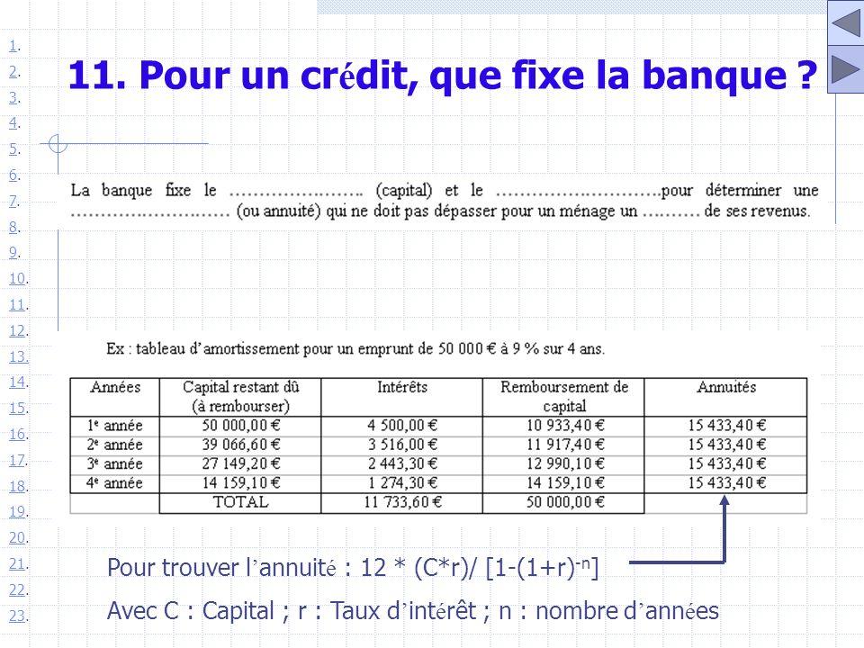 11. Pour un cr é dit, que fixe la banque ? Pour trouver l annuit é : 12 * (C*r)/ [1-(1+r) -n ] Avec C : Capital ; r : Taux d int é rêt ; n : nombre d