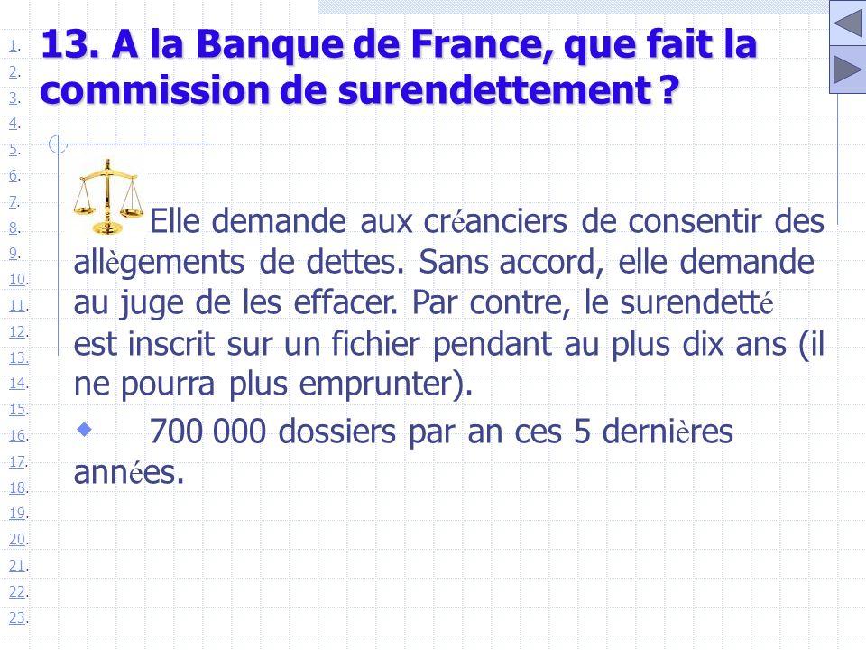 13. A la Banque de France, que fait la commission de surendettement ? Elle demande aux cr é anciers de consentir des all è gements de dettes. Sans acc