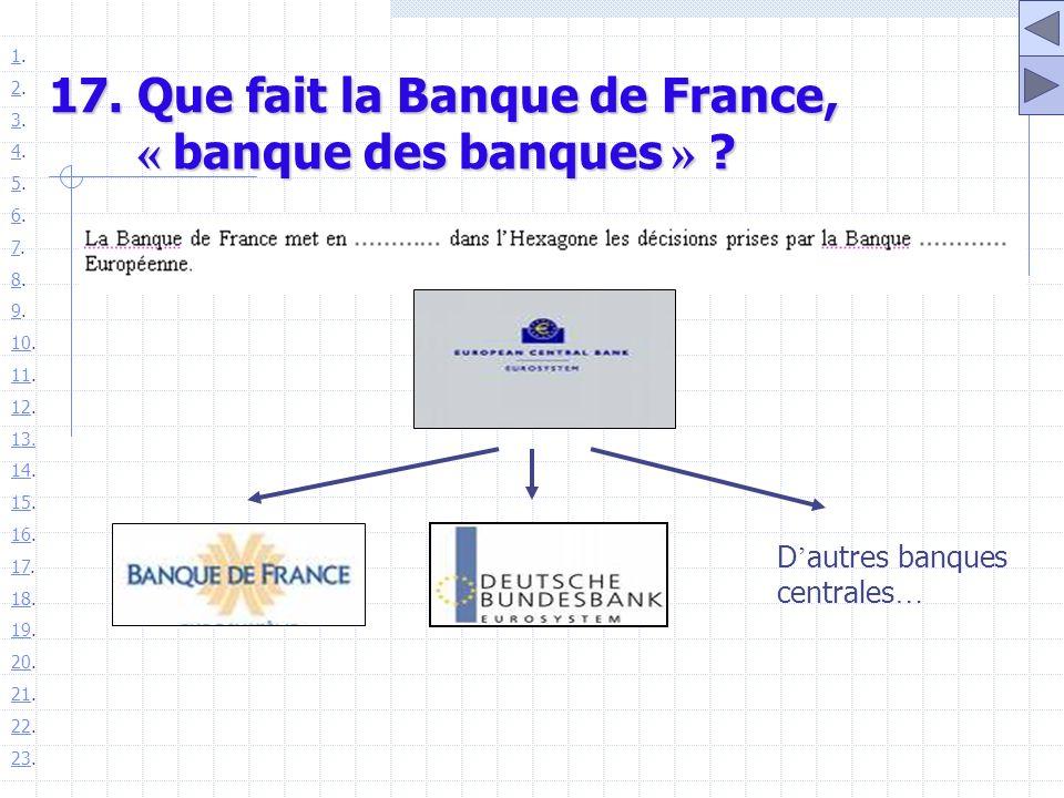 17. Que fait la Banque de France, « banque des banques » ? D autres banques centrales … 11. 22. 33. 44. 55. 66. 77. 88. 99. 1010. 1111. 1212. 13. 1414