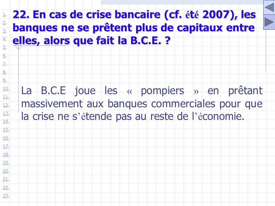 22. En cas de crise bancaire (cf. é t é 2007), les banques ne se prêtent plus de capitaux entre elles, alors que fait la B.C.E. ? La B.C.E joue les «