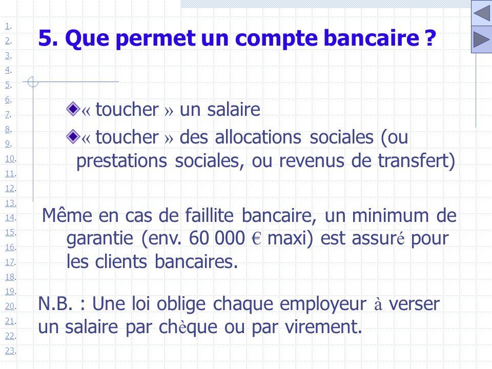 5. Que permet un compte bancaire ? « toucher » un salaire « toucher » des allocations sociales (ou prestations sociales, ou revenus de transfert) Même