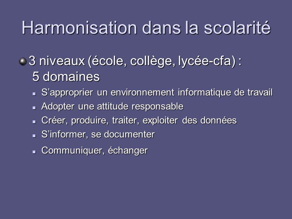 Harmonisation dans la scolarité 3 niveaux (école, collège, lycée-cfa) : 5 domaines Sapproprier un environnement informatique de travail Sapproprier un