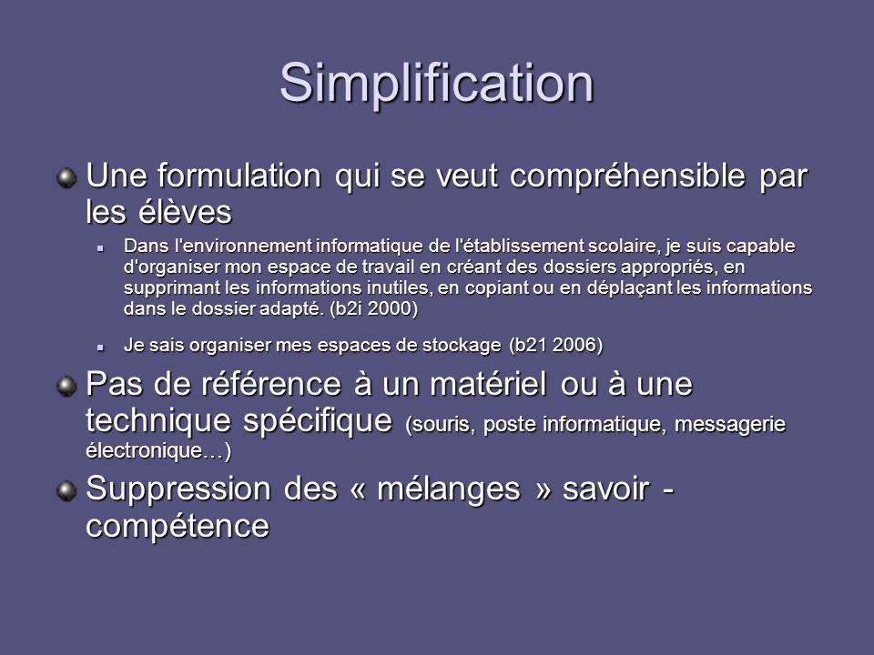 Simplification Une formulation qui se veut compréhensible par les élèves Dans l'environnement informatique de l'établissement scolaire, je suis capabl
