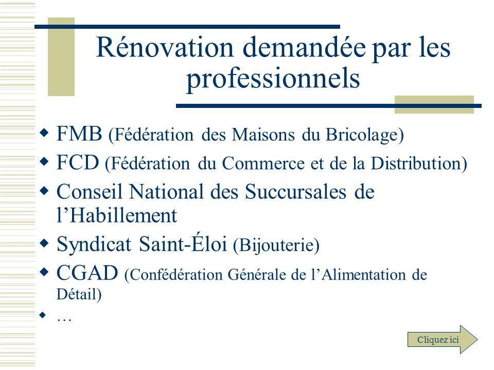 Rénovation demandée par les professionnels FMB (Fédération des Maisons du Bricolage) FCD (Fédération du Commerce et de la Distribution) Conseil Nation