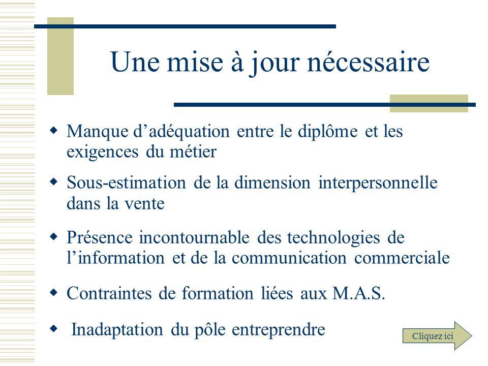 Une mise à jour nécessaire Manque dadéquation entre le diplôme et les exigences du métier Sous-estimation de la dimension interpersonnelle dans la ven