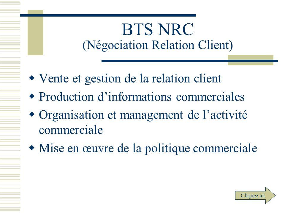 BTS NRC (Négociation Relation Client) Vente et gestion de la relation client Production dinformations commerciales Organisation et management de lacti