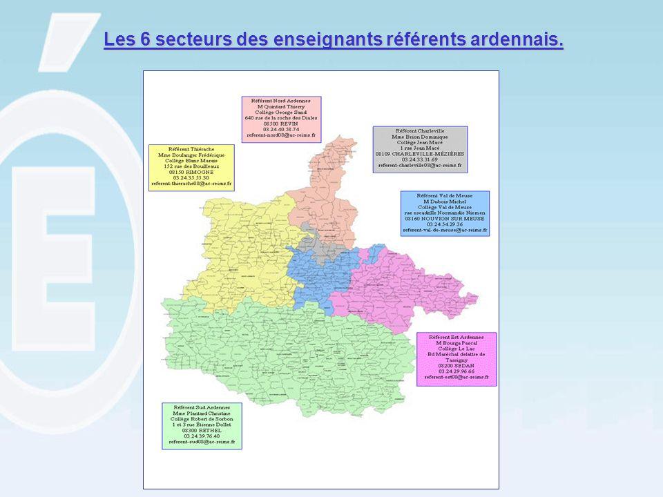 Les 6 secteurs des enseignants référents ardennais.