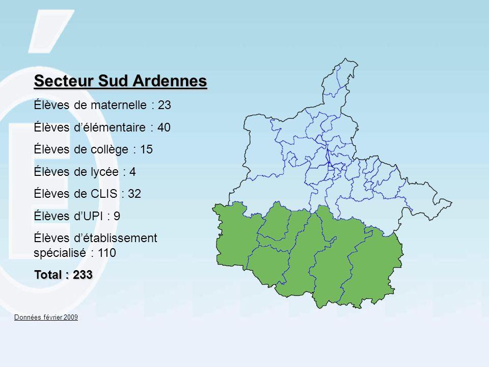 Secteur Sud Ardennes Élèves de maternelle : 23 Élèves délémentaire : 40 Élèves de collège : 15 Élèves de lycée : 4 Élèves de CLIS : 32 Élèves dUPI : 9 Élèves détablissement spécialisé : 110 Total : 233 Données février 2009