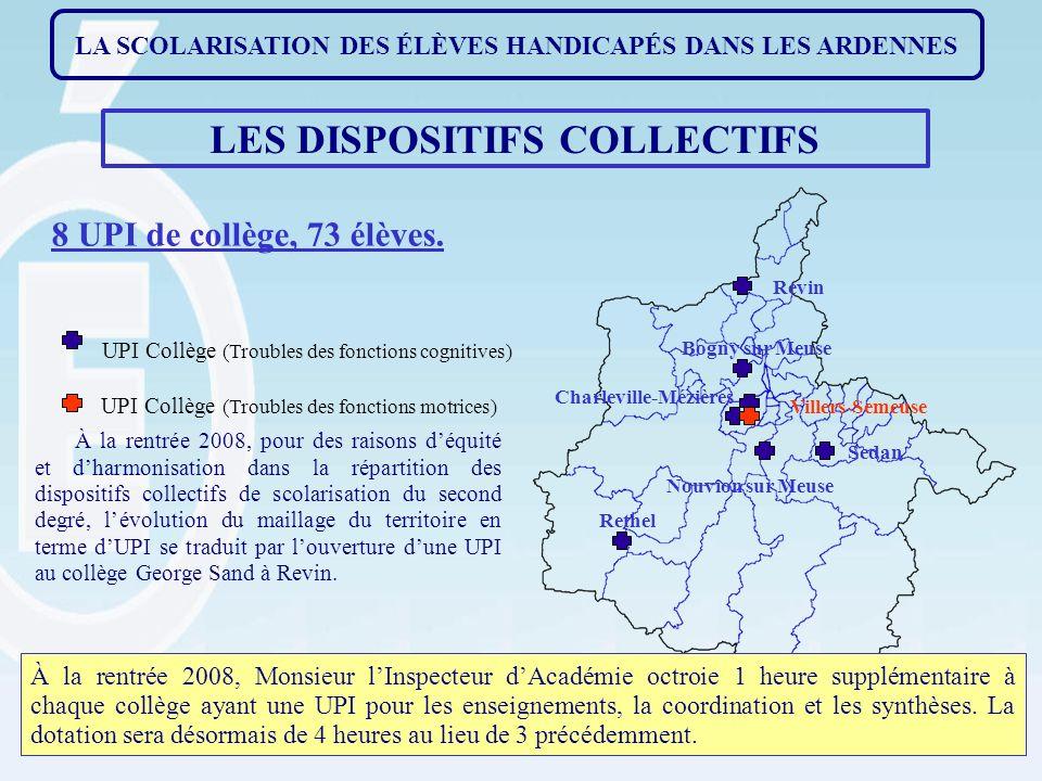 LES DISPOSITIFS COLLECTIFS 8 UPI de collège, 73 élèves.