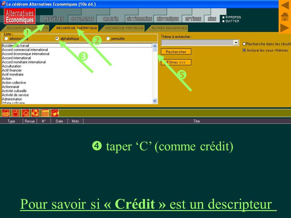 M. Kintzler taper C (comme crédit) Pour savoir si « Crédit » est un descripteur
