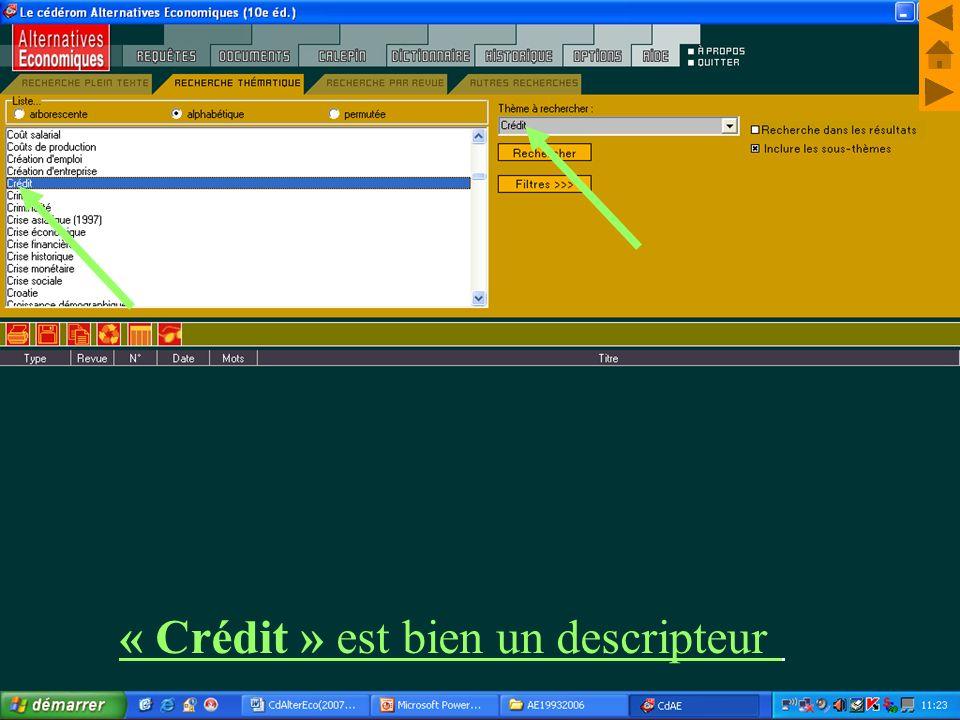 M. Kintzler « Crédit » est bien un descripteur