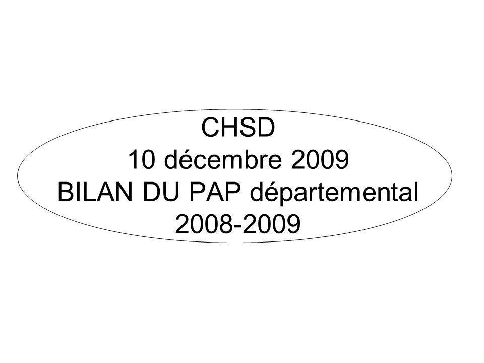 CHSD 10 décembre 2009 BILAN DU PAP départemental 2008-2009