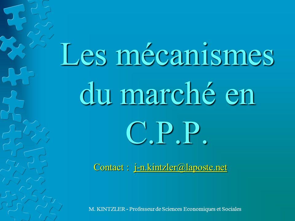 M. KINTZLER - Professeur de Sciences Economiques et Sociales Les mécanismes du marché en C.P.P. Contact : j-n.kintzler@laposte.net