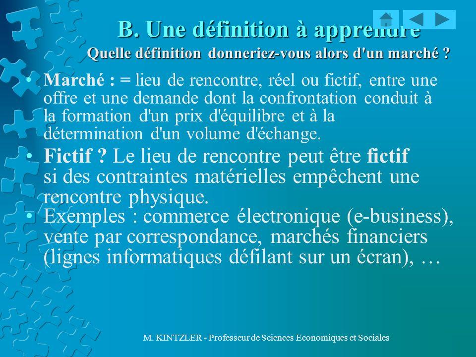 M. KINTZLER - Professeur de Sciences Economiques et Sociales B. Une définition à apprendre Quelle définition donneriez-vous alors d'un marché ? Marché