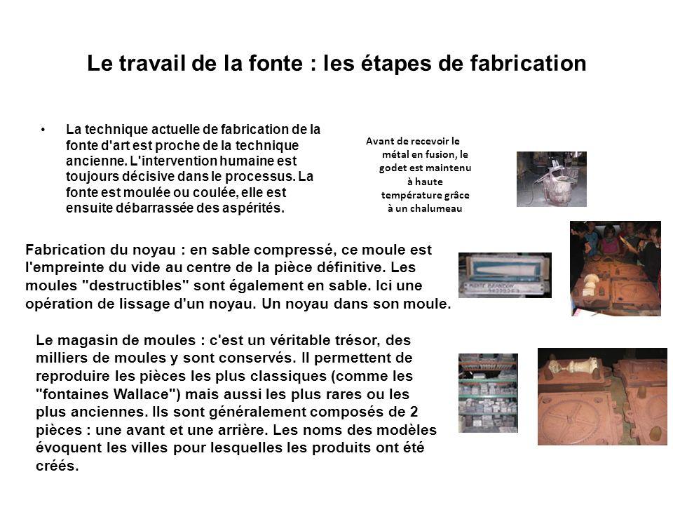 Le travail de la fonte : les étapes de fabrication La technique actuelle de fabrication de la fonte d'art est proche de la technique ancienne. L'inter