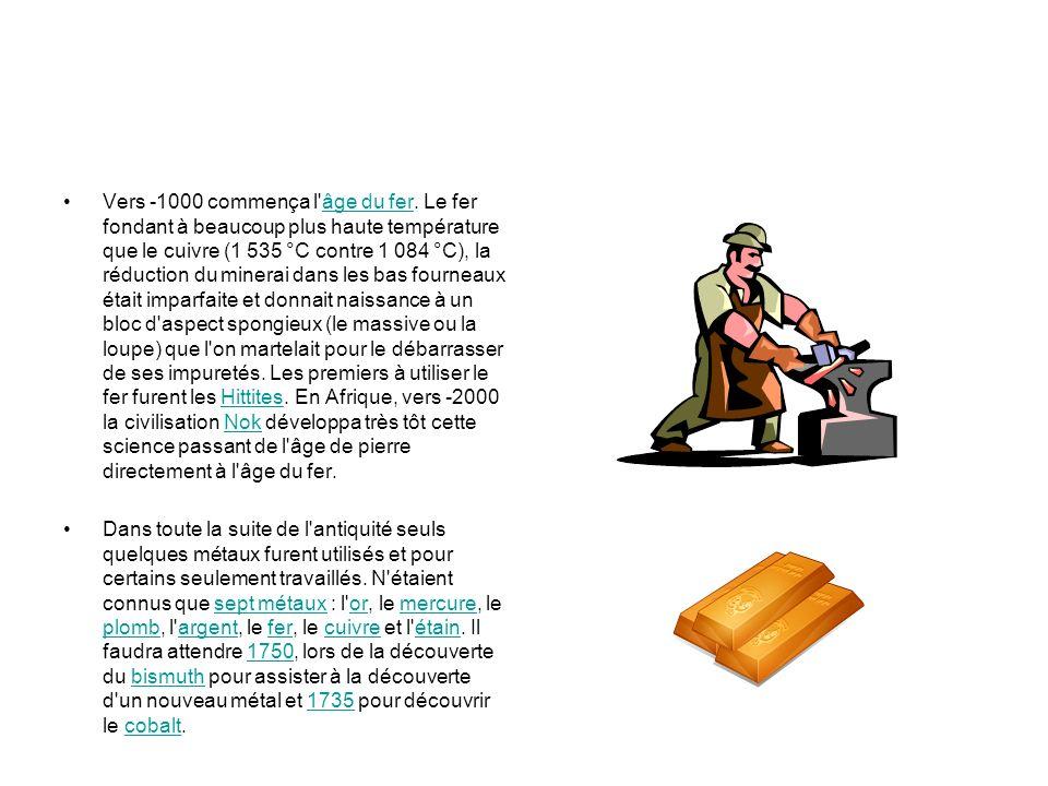 Vers -1000 commença l'âge du fer. Le fer fondant à beaucoup plus haute température que le cuivre (1 535 °C contre 1 084 °C), la réduction du minerai d