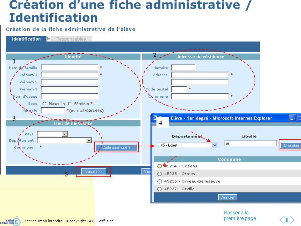 Passer à la première page Création dune fiche administrative / Identification 1 2 3 4 5 reproduction interdite - © copyright CATEL-diffusion