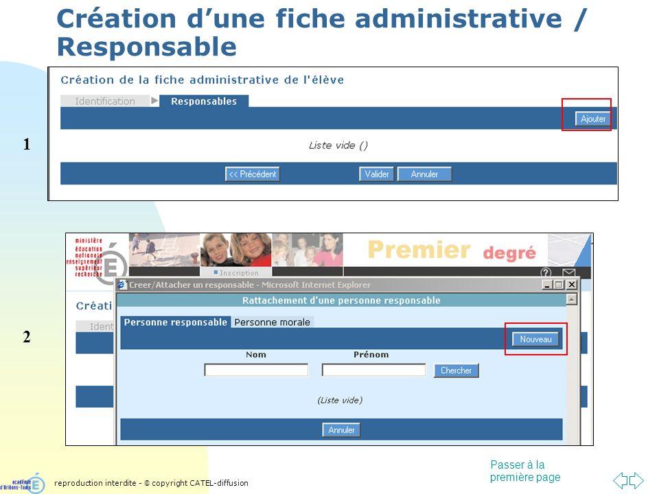 Passer à la première page Création dune fiche administrative / Responsable 1 2 reproduction interdite - © copyright CATEL-diffusion