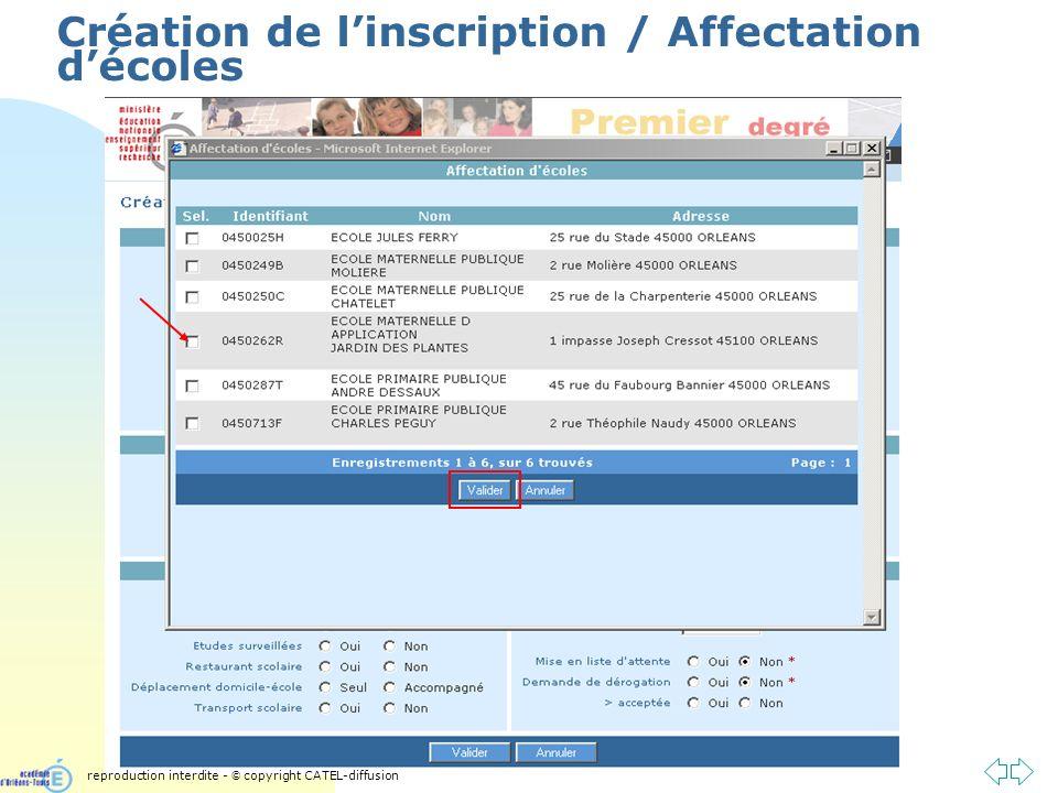 Passer à la première page Création de linscription / Affectation décoles reproduction interdite - © copyright CATEL-diffusion