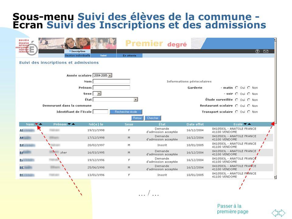 Passer à la première page … / … Sous-menu Suivi des élèves de la commune - Écran Suivi des Inscriptions et des admissions