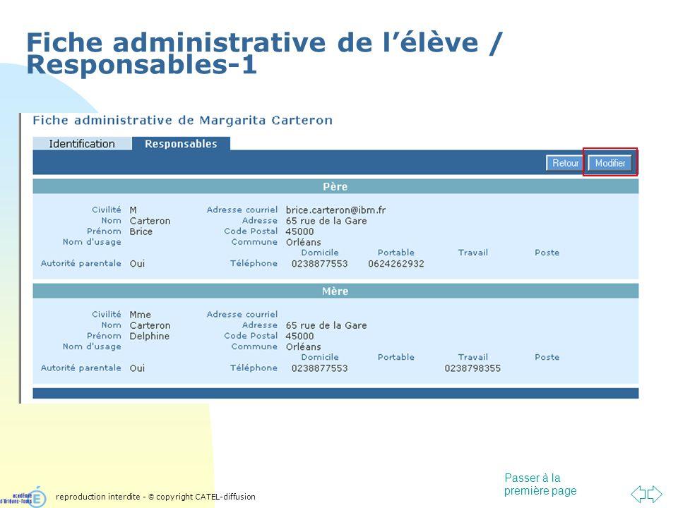 Passer à la première page Fiche administrative de lélève / Responsables-1 reproduction interdite - © copyright CATEL-diffusion