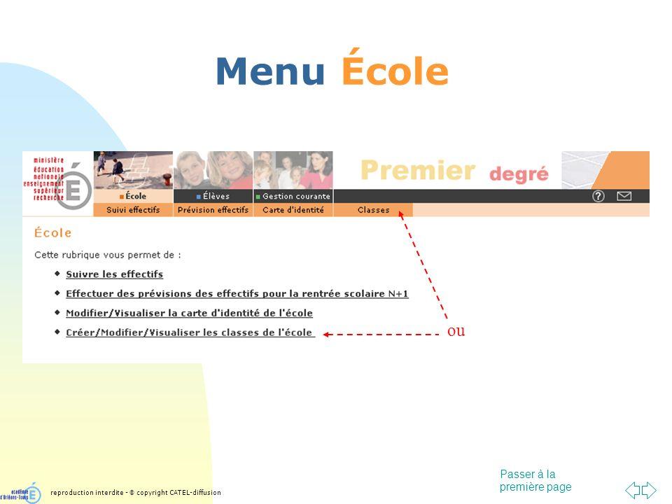 Passer à la première page Menu École reproduction interdite - © copyright CATEL-diffusion ou