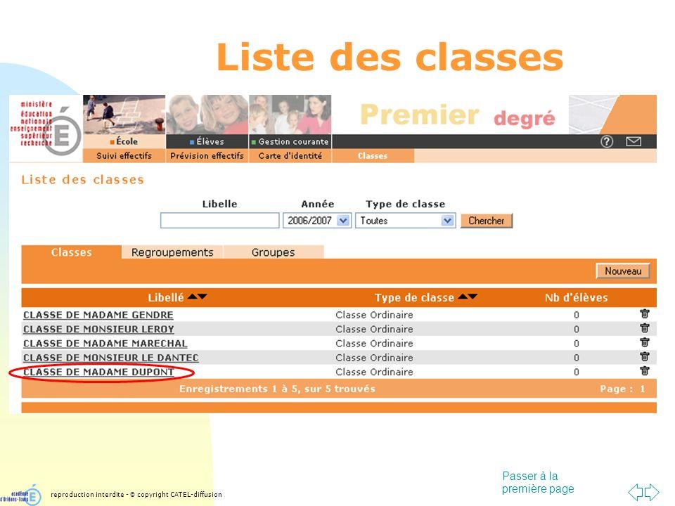 Passer à la première page Liste des classes reproduction interdite - © copyright CATEL-diffusion