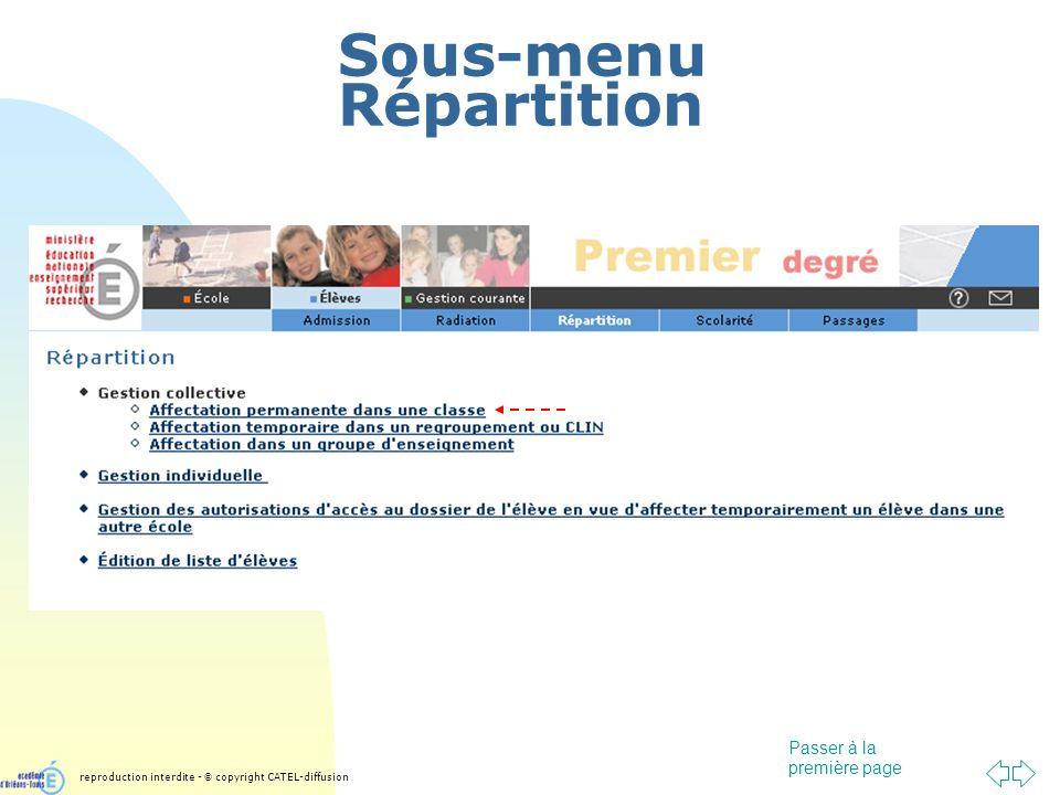 Passer à la première page Sous-menu Répartition reproduction interdite - © copyright CATEL-diffusion