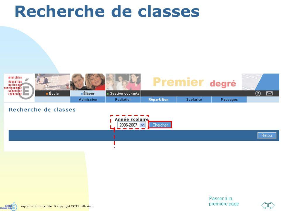 Passer à la première page Recherche de classes reproduction interdite - © copyright CATEL-diffusion