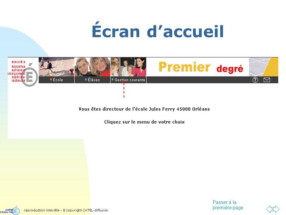 Passer à la première page Écran daccueil reproduction interdite - © copyright CATEL-diffusion