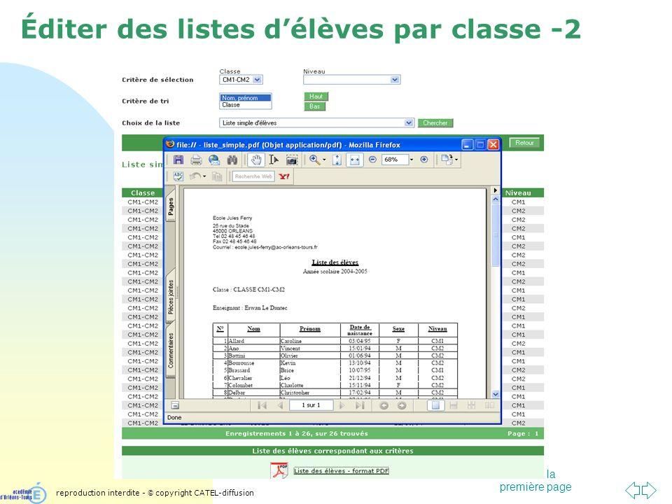 Passer à la première page Éditer des listes délèves par classe -2 reproduction interdite - © copyright CATEL-diffusion