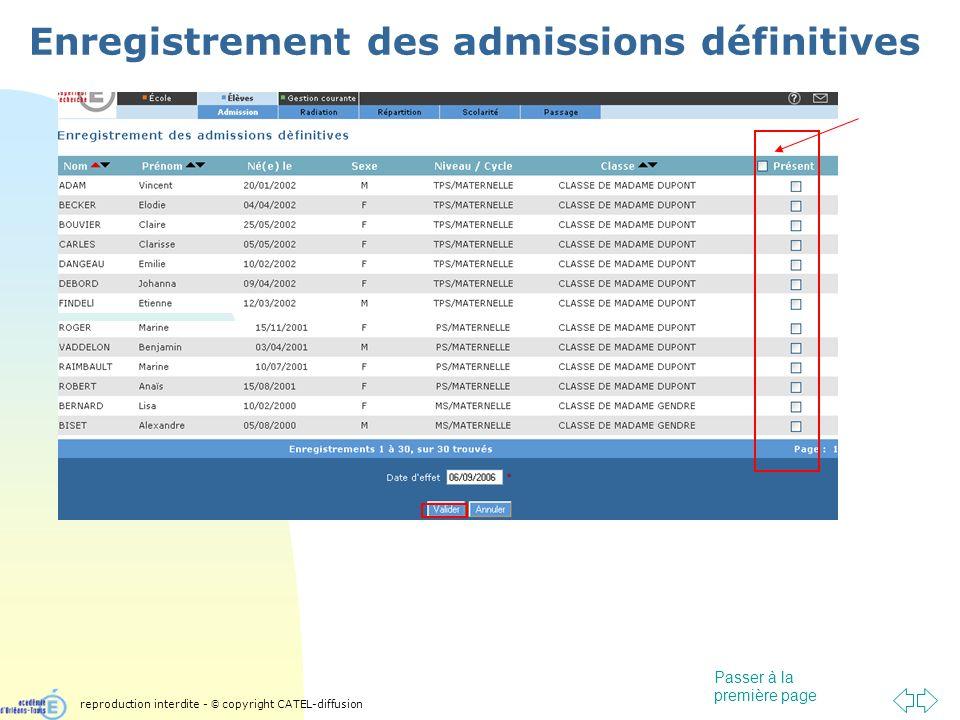 Passer à la première page Enregistrement des admissions définitives reproduction interdite - © copyright CATEL-diffusion