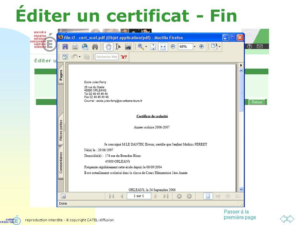 Passer à la première page Éditer un certificat - Fin reproduction interdite - © copyright CATEL-diffusion