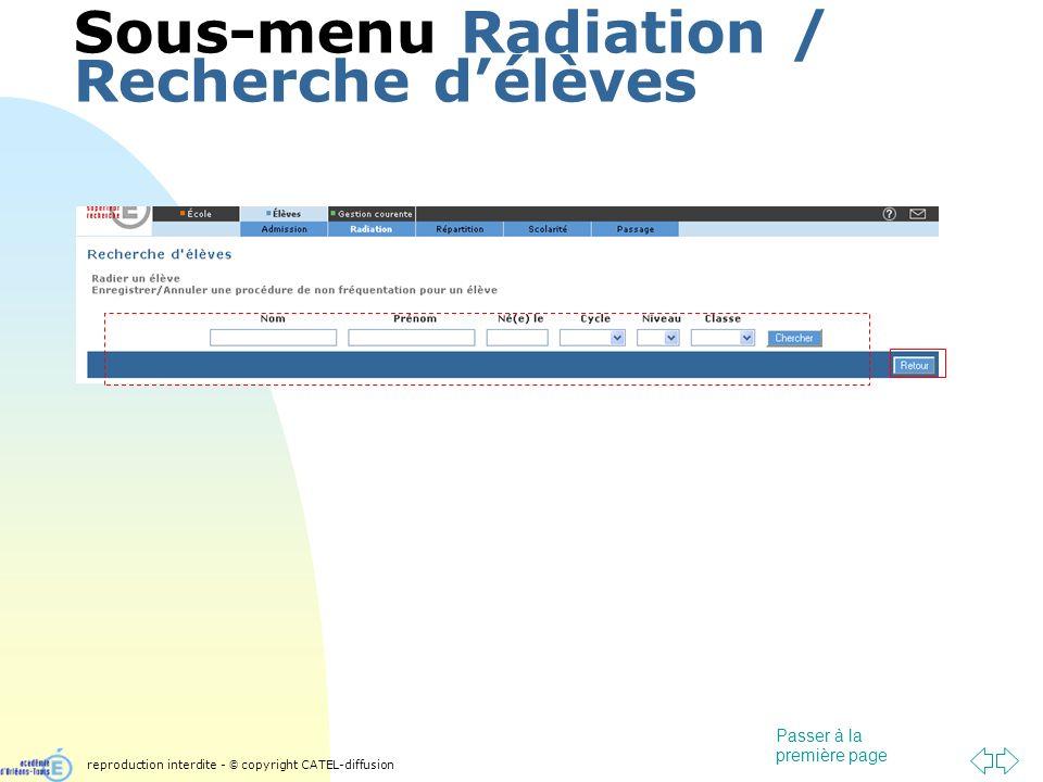 Passer à la première page Sous-menu Radiation / Recherche délèves reproduction interdite - © copyright CATEL-diffusion