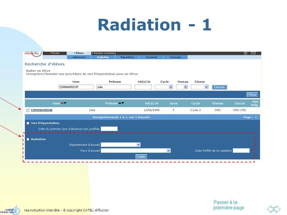 Passer à la première page Radiation - 1 reproduction interdite - © copyright CATEL-diffusion