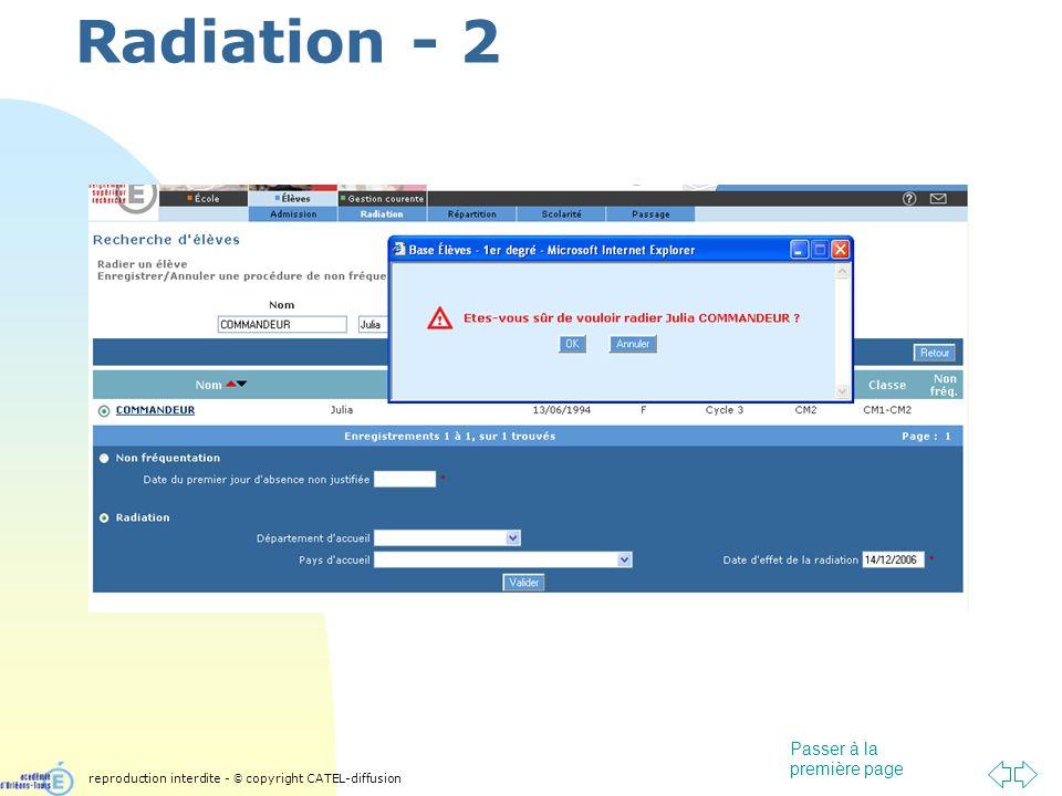 Passer à la première page Radiation - 2 reproduction interdite - © copyright CATEL-diffusion