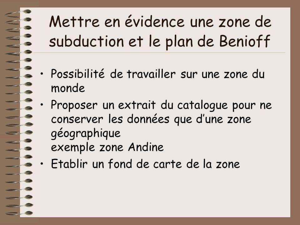Mettre en évidence une zone de subduction et le plan de Benioff Possibilité de travailler sur une zone du monde Proposer un extrait du catalogue pour