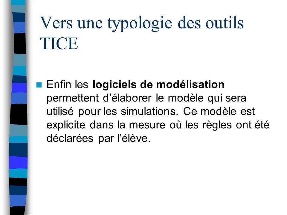 Vers une typologie des outils TICE Enfin les logiciels de modélisation permettent délaborer le modèle qui sera utilisé pour les simulations. Ce modèle