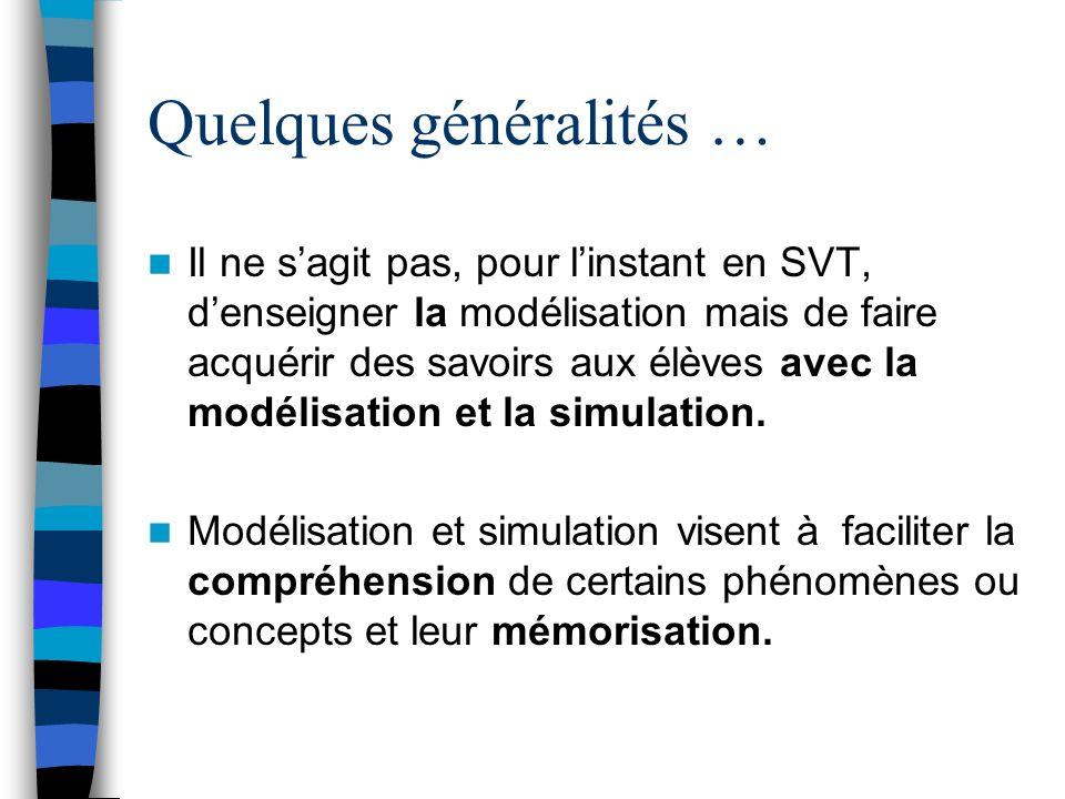 Il ne sagit pas, pour linstant en SVT, denseigner la modélisation mais de faire acquérir des savoirs aux élèves avec la modélisation et la simulation.