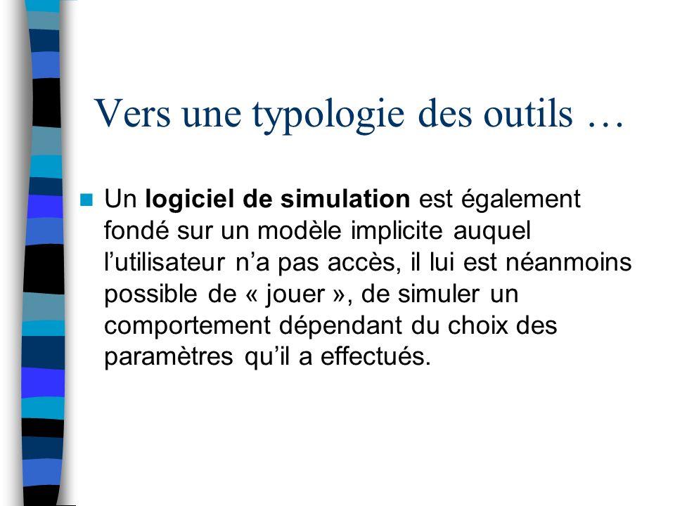 Un logiciel de simulation est également fondé sur un modèle implicite auquel lutilisateur na pas accès, il lui est néanmoins possible de « jouer », de