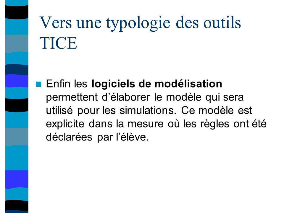 Vers une typologie des outils TICE Enfin les logiciels de modélisation permettent délaborer le modèle qui sera utilisé pour les simulations.