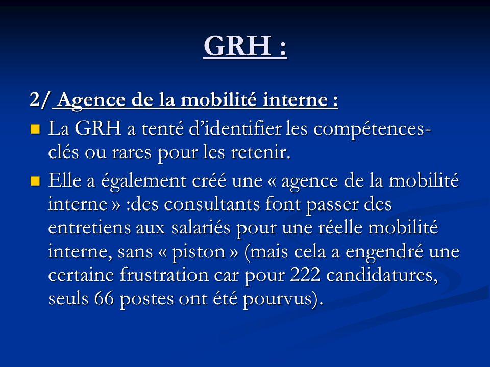 GRH : 2/ Agence de la mobilité interne : La GRH a tenté didentifier les compétences- clés ou rares pour les retenir.