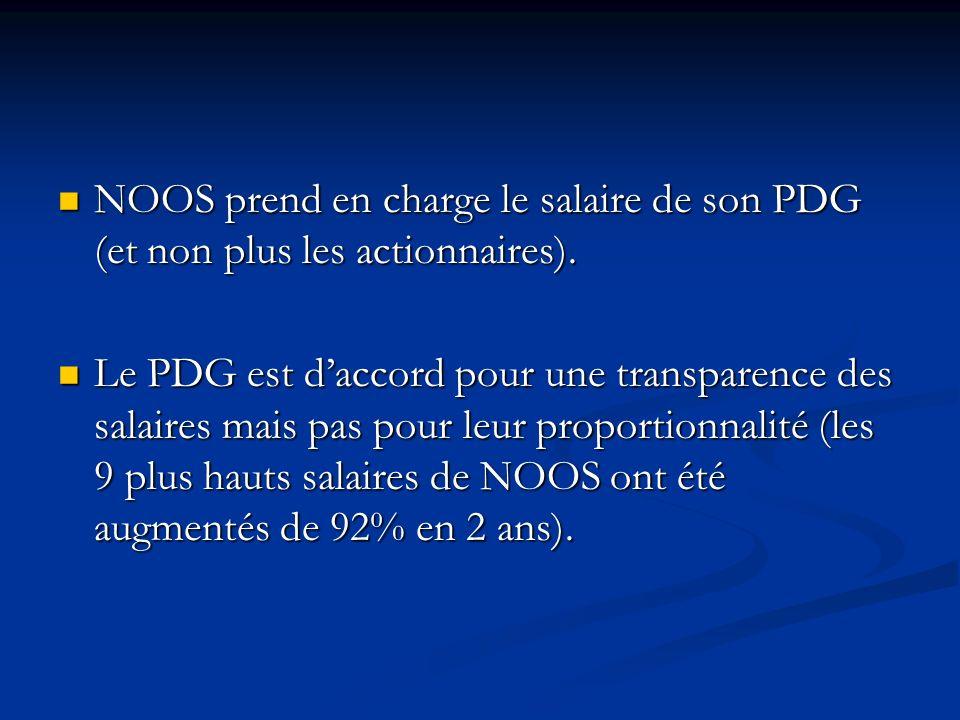 NOOS prend en charge le salaire de son PDG (et non plus les actionnaires).
