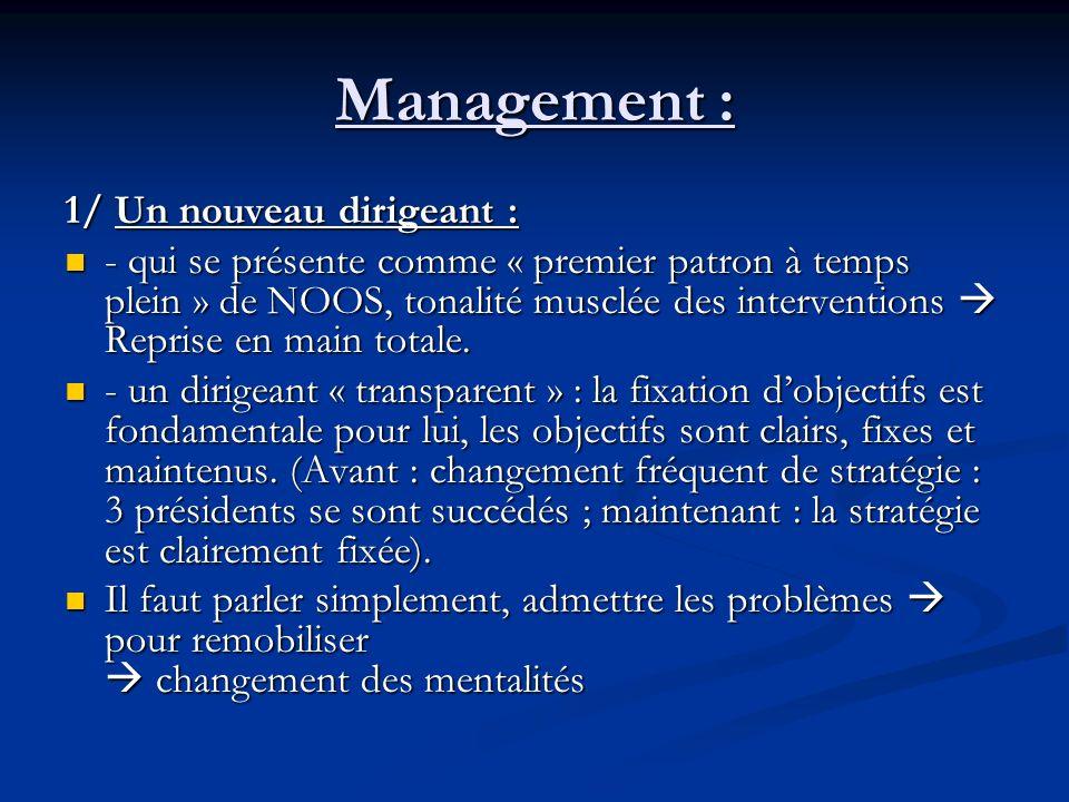 Management : 1/ Un nouveau dirigeant : - qui se présente comme « premier patron à temps plein » de NOOS, tonalité musclée des interventions Reprise en main totale.