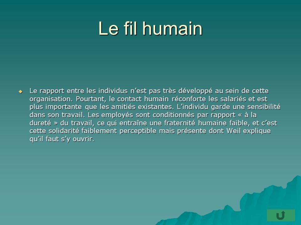 Le fil humain Le rapport entre les individus nest pas très développé au sein de cette organisation.