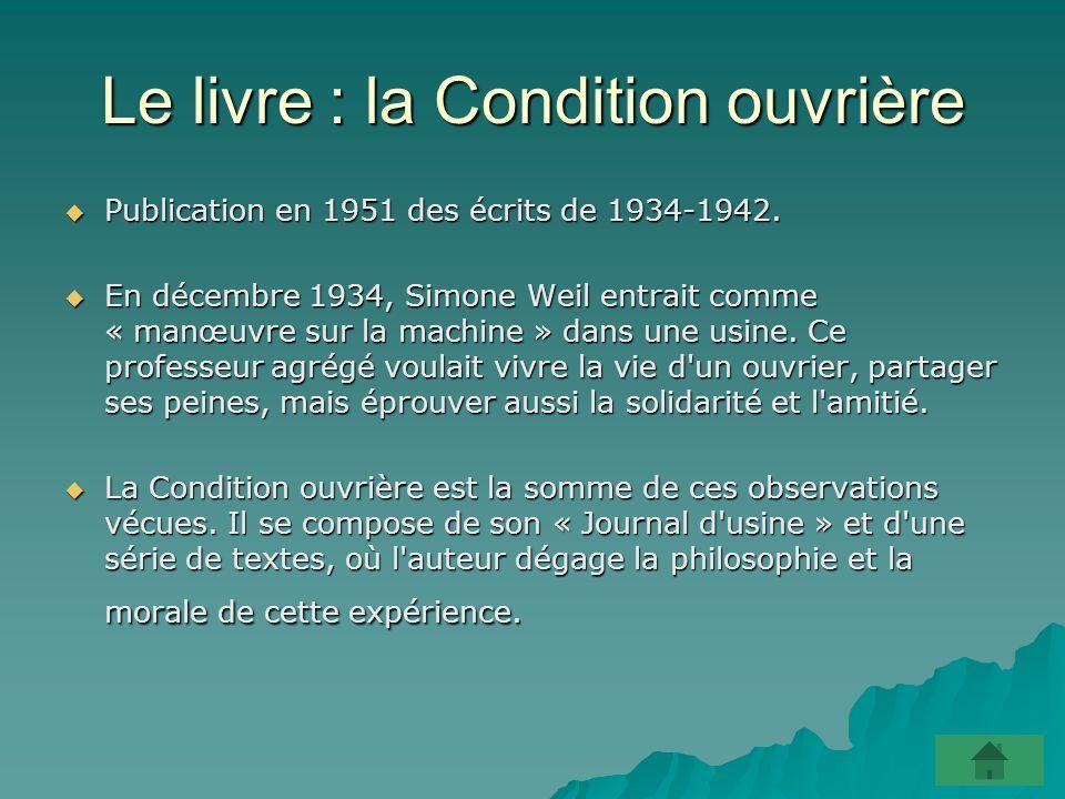 Le livre : la Condition ouvrière Publication en 1951 des écrits de 1934-1942.