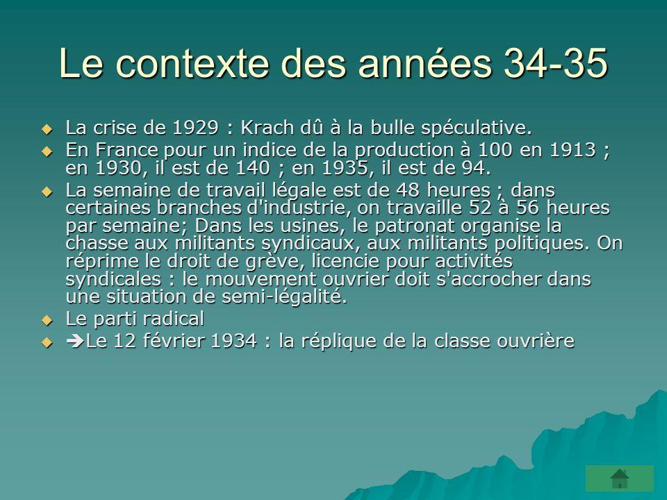 Le contexte des années 34-35 La crise de 1929 : Krach dû à la bulle spéculative.