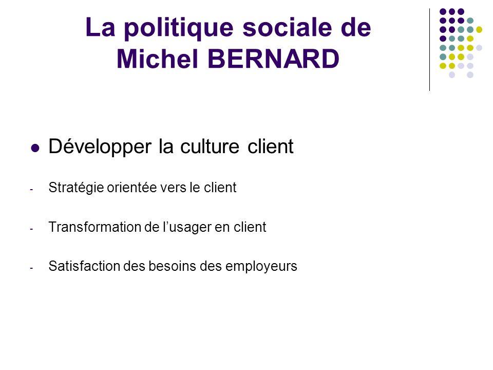 La politique sociale de Michel BERNARD Développer la culture client - Stratégie orientée vers le client - Transformation de lusager en client - Satisfaction des besoins des employeurs